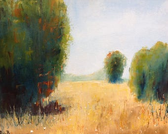 Gold Field, Green trees Painting,  Farm painting, Rustic, Midwestern Scene