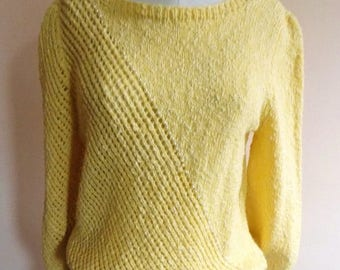 80s Hand Knit Sweater, Light Yellow Pullover, 80s Preppy, Cotton Knit, Three Quarter Sleeve, Lace Knit Sweater, Size L, Vintage Handmade