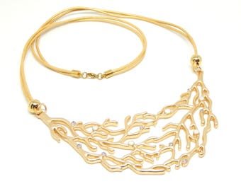 Gold Coral Leather Necklace
