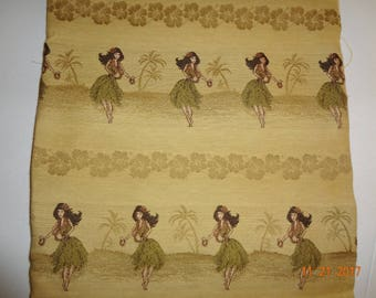 "Hula Girl Hawaiian Retro Print Fabric - 35"" x 54"""