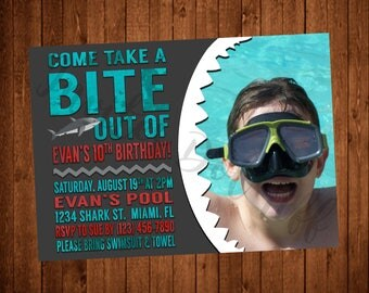 Shark Pool Party Themed Printable Birthday Invitation with Picture! (Red, Teal, Black, Aqua, Shark Teeth, Chalkboard)
