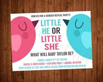 Cute Birds Gender Reveal Party Invitation (Printable)