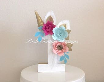 Unicorn Floral Centerpiece/ Unicorn Floral Number/ Unicorn Photo Prop/ Unicorn Birthday Party/ Unicorn Decorations/ Unicorn First Birthday