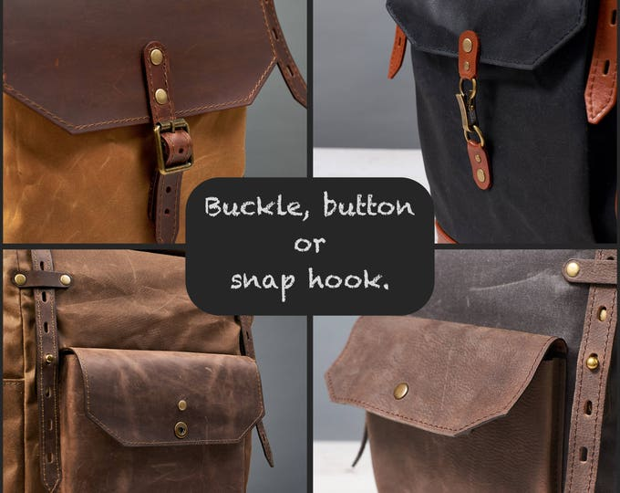 Front pocket closure type for backpack. Add-on.