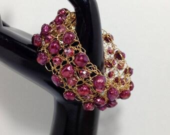 Bracelet Cuff, Purple, Rhubarb, Fuchsia, Cultured Freshwater Pearls, Rhubarb Metallic Glass, Non-Tarnish Gold Tone Wire, Wire Crochet
