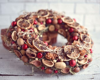 Natural Christmas wreath front door, Dried wreath, Noel Decoration, Rustic Winter Decor, Holiday wreath, Wall decoration