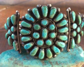 Sweet Vintage Navajo Sterling Silver Turquoise Cluster Cuff Bracelet
