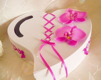 urn wedding fuchsia heart corset with orchids to customize
