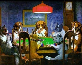 Dogs playing poker series by Cassius Marcellus Coolidge - choice of 10 images -high quality photo print  - available in either A4 or A5 size