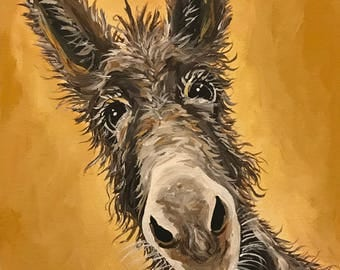 Donkey art print, Donkey decor. Donkey print from original canvas painting, Burro art print