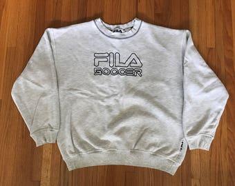 Vintage 90s FILA Soccer Heather Grey Classic Crewneck Sweatshirt. Size Medium