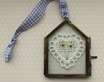 Pressed Flower and Heart Picture