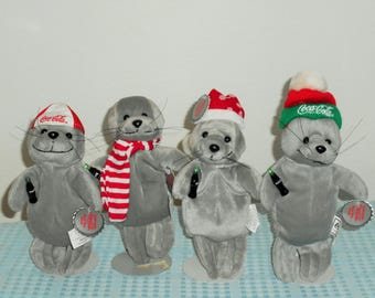 "Beanbag Plush Coca-Cola Christmas Edition ""Seals"" Dressed For Christmas!Coke Baseball Cap/Snowflake Stocking Cap/Red&White Scarf/Knit Cap"