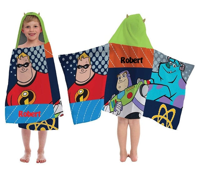 Disney Patch Wrap Towel Buzz Lightyear, Mr. Incredible, Sulley Hooded Towel wrap Toddler beach towel - Personalized