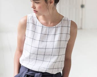 Linen tank top VIENNA / Round neck washed linen blouse / linen tank top in large checks