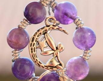 Amethyst fairy pendant