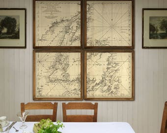 """Newfoundland map 1775, Large map of Newfoundland, 5 sizes up to 72x72"""" (6x6 ft) James Cook NFL map in 1 or 4 parts - Limited Edition of 100"""