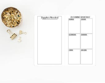 Cleaning Schedule Traveler's Notebook Insert refill - Micro or Passport size - supplies - supply list - weekly chores