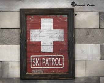 "Ski Decor, Rustic Ski Patrol, Rustic Decor, Ski Gift, Ski Sign, Wood Ski Sign, Ski Art, Rustic Wall Decor, Ski Wall Art, Vintage Ski~13""x17"""