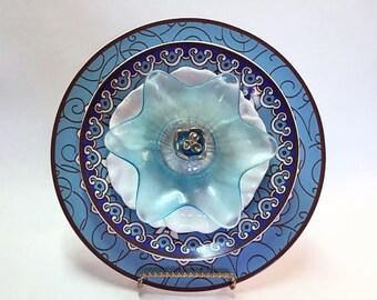 Glass Plate Flower Garden Art - Plate Flowers - Glass Flowers - Dish Flowers - Outdoor Decor - Garden Decor - Home Decor