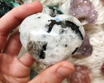 Rainbow Moonstone with Black Tourmaline heart
