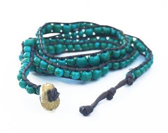 Wrap Bracelet Turquoise Bracelet Boho Jewelry Bead Bracelet Bohemian Cord Bracelet