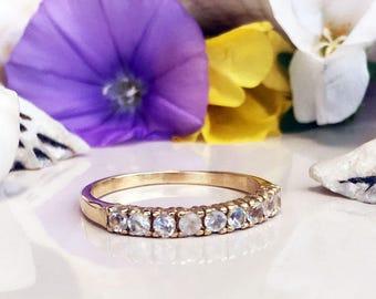 20% off-SALE! Rainbow Moonstone Ring - Genuine Gemstone - Stacking Ring - June Birthstone - Half Eternity Ring - Gold Ring - Prong Ring
