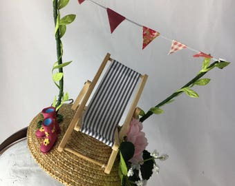 Garden Party Fascinator ~ Handmade hair accessory, hat, hairband ~ Deck chair, bunting and wellies ~ The Handmade Fair with Kirstie Allsopp