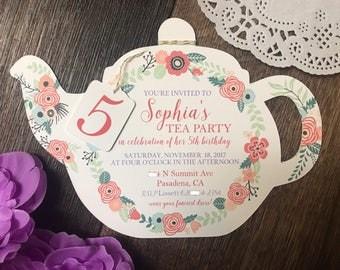 Tea Party Teacup Invitation with Teabag