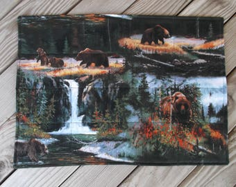 Rustic cabin placemats, bear fabric placemats, quilted placemats, handmade placemats, table decor, set of 8