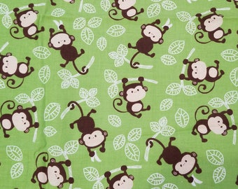 Brown monkeys 100% cotton fabric green leafs baby nursery theme