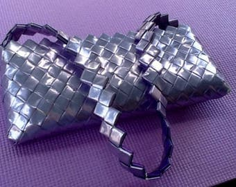 Foil Wrapper Folding Handbag, Clutch, Purse. Zipper Closure. Shoulder Strap. Handcrafted. Lavender.