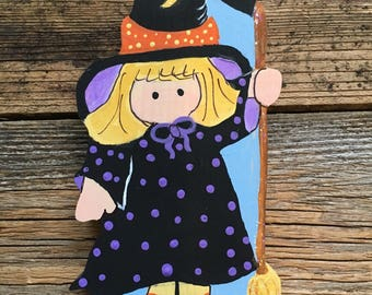 Witch with Broom Shelf Sitter