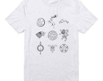 Houses Game of Thrones Tee Shirts Tumblr Hipster Shirt Gifts Funny Design Graphic Shirt Teen Girl Fashion Tumblr Shirt Men Shirt Women Gift