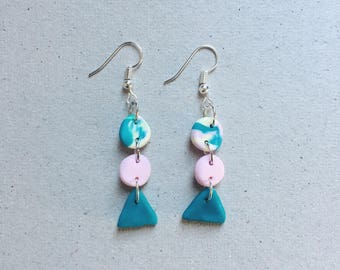 Three-tier marbled clay circles and triangle dangle earrings