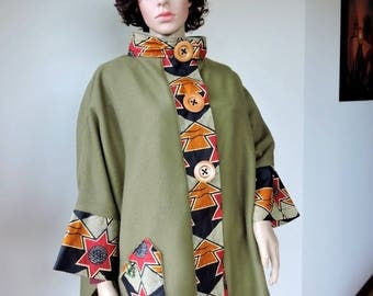 African touch khaki fleece cape coat ethnic wax ethno chic