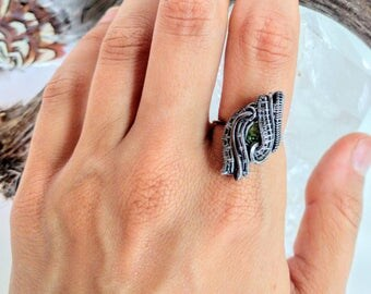 ANY SIZE Wire Wrapped Peridot Sterling Silver Ring