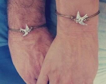 Vacation-Sale- Love Birds, Couple bracelets, His Hers Bracelet, Leather Bracelet, Matching Bracelets, Couples jewelry, Boyfriend Girlfriend,