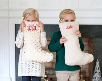 Personalized Luxe Christmas Stockings & Tree Skirt - Other styles available - Christmas Decor - Monogram Gift