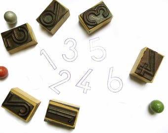 Rubber stamp numbers 1 2 3 4 5 6 or 9 vintage - antique stamp pad - Rubber stamp of school - school scrapbooking