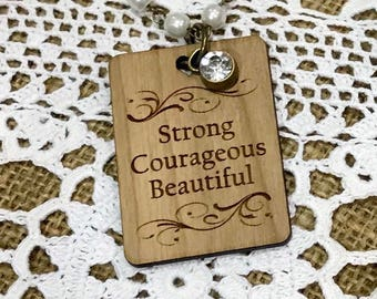 "Strong Courageous Beautiful 39"" Glass Pearl Necklace, Laser Engraved Custimized Neckkace, Large Pendant Neclace"