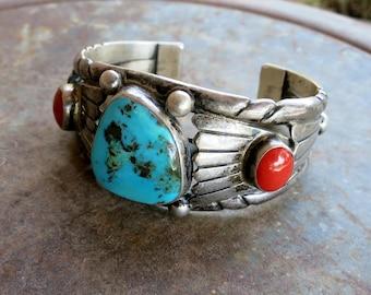 STUNNING VINTAGE NAVAJO Bracelet, Turquoise & Coral, 55 Grams, Sterling Silver