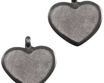 "DQ Metal Pendant ""cardio""-2 pcs.-Color selectable (colour: silver grey)"