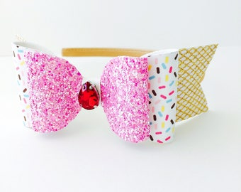 Ice Cream Cone Hair Bow - ice cream cone headband, sprinkles hair bow, Sprinkles headband, sprinkles hair clip
