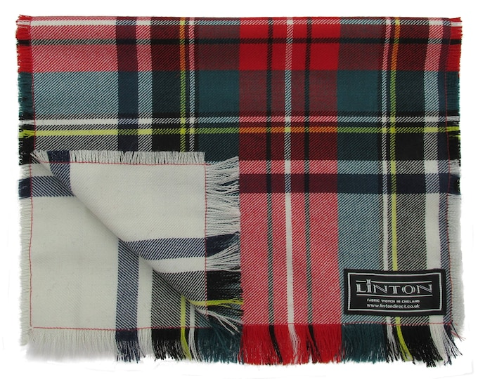 Linton Tweed Red & Cream Classic Tartan Fringed Scarf