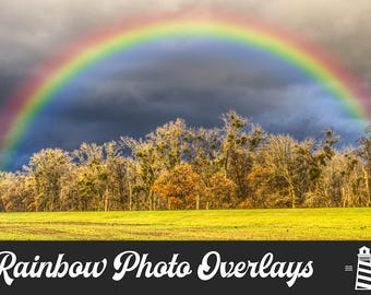 Rainbow Photo Overlays, Rainbow Clipart, PNG Rainbow Elements, Photo Decoration, Realistic Rainbow Overlays, Commercial Use, BUY3FOR6