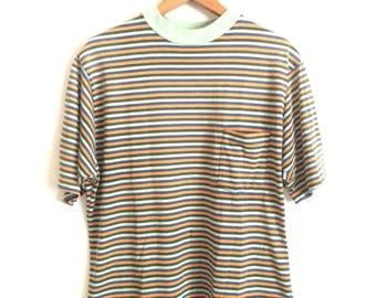 70s STRIPED BASIC POCKET T-Shirt / Green Blue Orange / Size X-Large