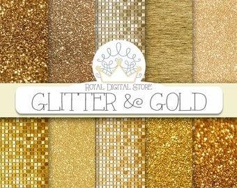 "Gold glitter digital paper: ""GLITTER AND GOLD"" with glitter background, gold glitter texture, gold background, gold texture for invitations"