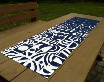 Genial Modern Table Runner Made From Marimekko Fabric Yön Varjo, Blue Narrow  Tablecloth Centerpiece Topper,