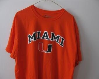 University of Miami T-shirt shirt Hurricanes Adult XL